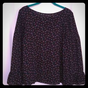 Loft black patterned ruffle-sleeve blouse